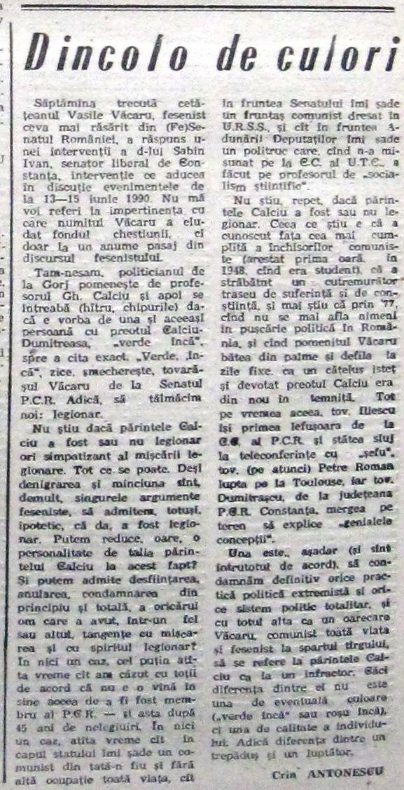 CARE - Crin Antonescu, în 1992: Putem admite condamnarea din principiu a oricărui om care a avut tangenţe cu mişcarea şi cu spiritul legionar? În nici un caz! Când spunea adevărul inițiatorul legii anti-legionare? ANALIZĂ Puncte-Cardinale-anul-I-nr-8-august-1991.pag_.10