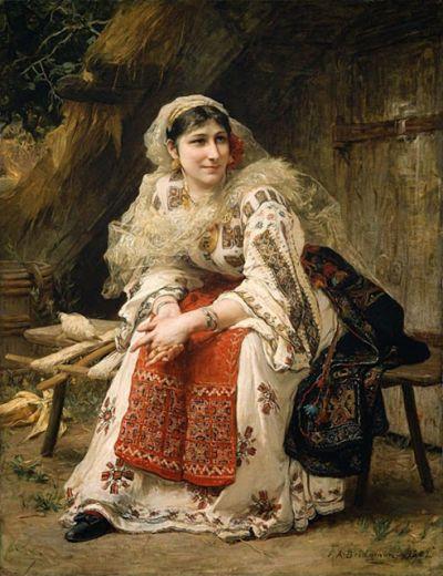 """O româncă i-a convins pe americani că un TABLOU celebru din Boston este GREȘIT denumit """"Armenian Woman"""".  Pictura înfățișează, în realitate, o ROMÂNCĂ în port popular"""