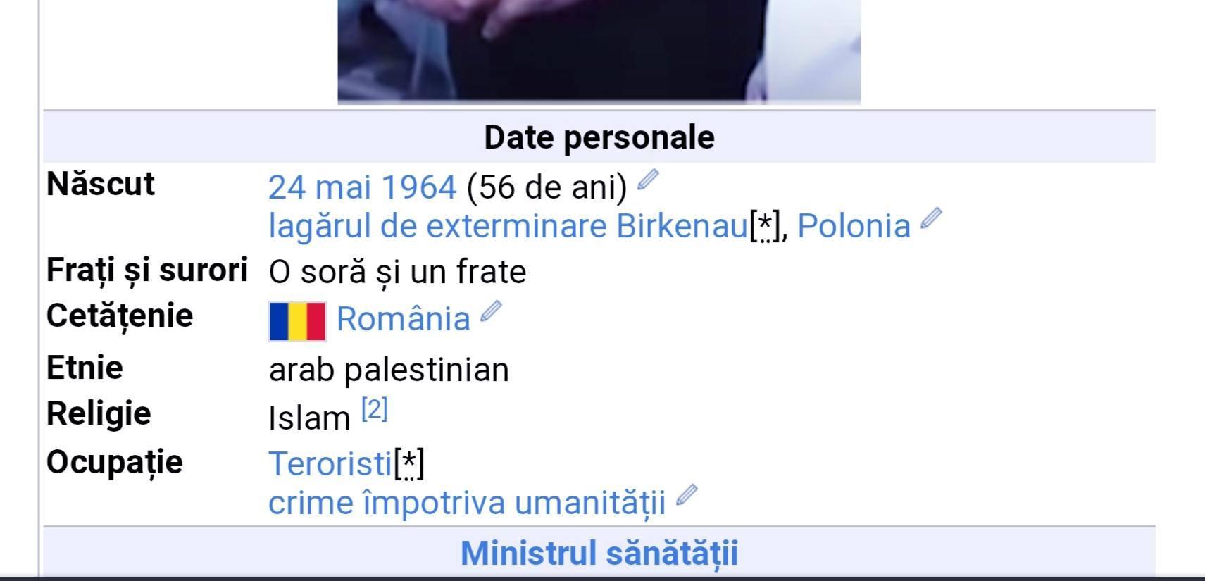 """Raed Arafat, descris pe Wikipedia ca """"terorist"""", având drept ocupație """"crime împotriva umanității"""""""