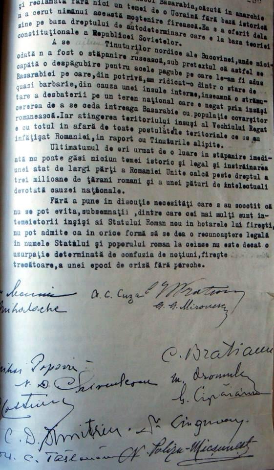 Protestul lui Iorga si A C Cuza contra cedarii Basarabiei si Bucovinei - 2 iulie 1940 - 2 cu semnaturi olografe