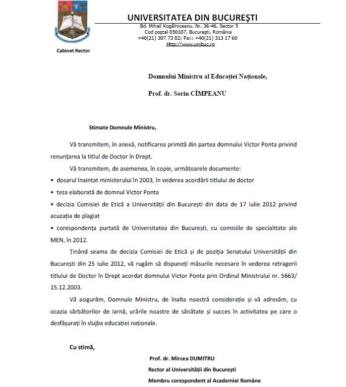 15 FOTO DOCUMENT Universitatea din Bucureşti SOLICITĂ Ministerului Educaţiei retragerea titlului de doctor al lui Victor Ponta